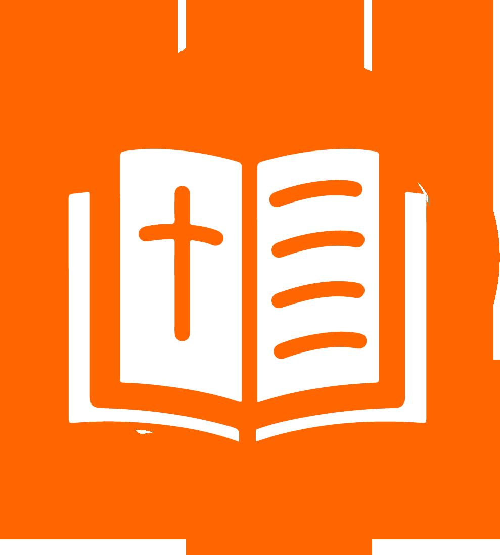 Bible icon on orange background