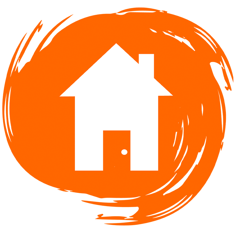 House illustration on orange circle