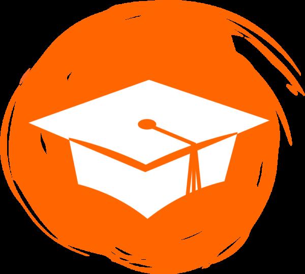 Graduation Cap Icon on Orange Background