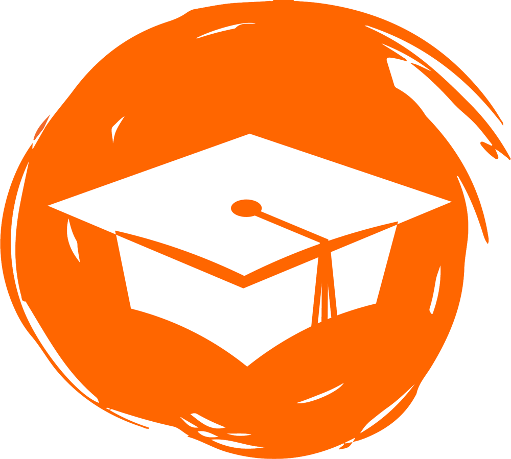 Graduation Cap Icon on Orange Background