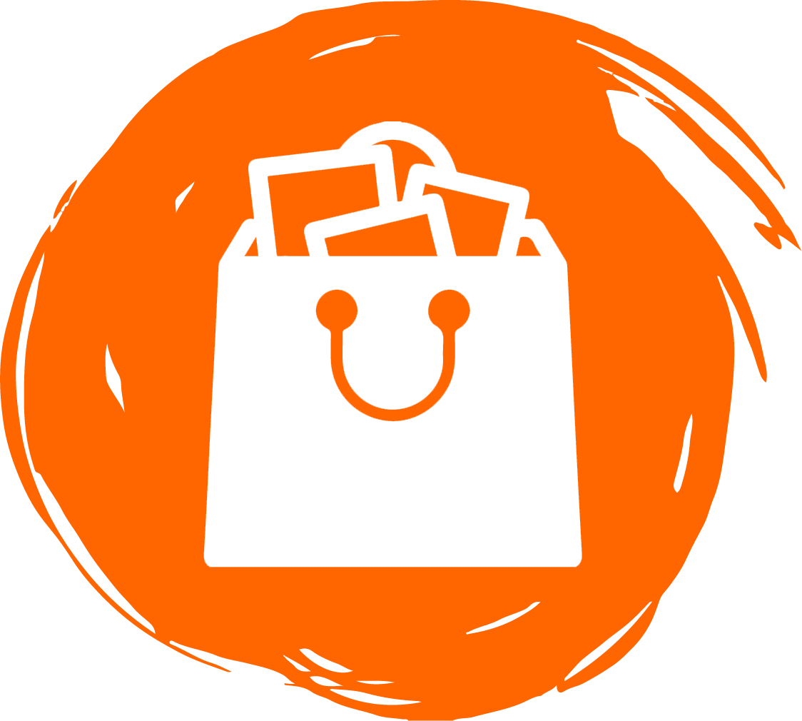 Shopping bag illustration on orange circle